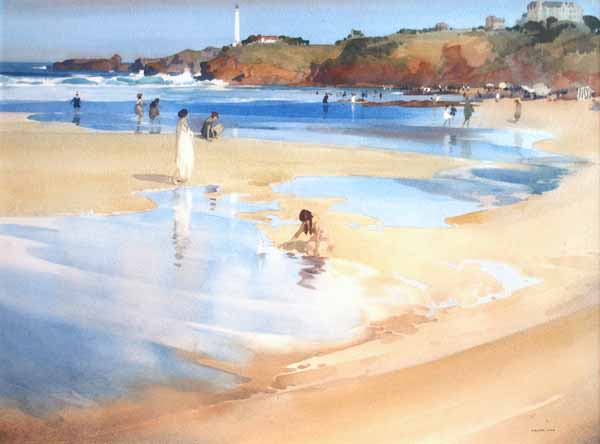 Cape St. Martin, Biarritz by Sir WILLIAM RUSSELL  FLINT RA 1888-1969